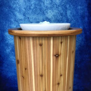 Living Waters Baptismal with cedar cabinet and Gushing Spring water effect.